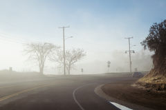 Driving down foggy highway in Malibu Creek State Park Royalty Free Stock Photography