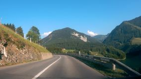 Driving Down the Road in Switzerland stock video footage
