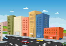 Driving Downtown. Illustration of a cartoon city downtown, with office buildings and cars driving vector illustration