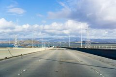 Driving on Dumbarton bridge which connects Menlo Park to Newark. San Francisco bay area, Silicon Valley, California royalty free stock photo
