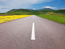Driving on an empty asphalt road through the idyllic fields Royalty Free Stock Photography