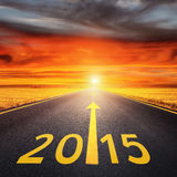 Driving on an empty road  forward to new year Stock Photo