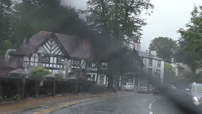 Driving in England in bad weather stock video footage