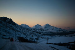 Driving through Ersfjordbotn Mountains Royalty Free Stock Images