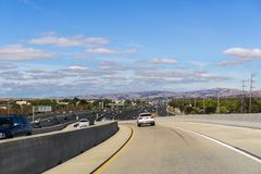 Driving on the express lane. To switch between highways; Highway 880 visible in the background, south San Francisco bay, California royalty free stock photography