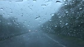Driving on expressway in bad weather stock video footage