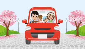 Driving  family - cherry tree park - EPS10 Royalty Free Stock Image