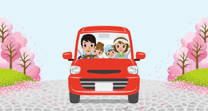 Driving  family - cherry tree park - EPS10 Stock Photography