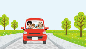 Driving  family - spring road - EPS10 Stock Photos