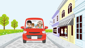 Driving Family in spring small town Royalty Free Stock Photos