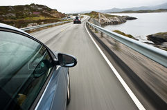 Driving it fast in Norway stock photos