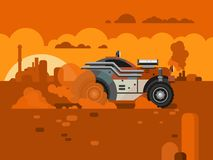 Driving Fast Retro Car Through Desert royalty free illustration