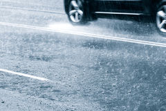Driving in flood water Royalty Free Stock Photo
