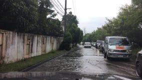 Driving flooding bangkok thailand stock footage