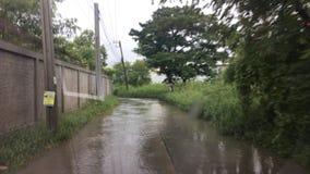 Driving flooding bangkok thailand stock video footage