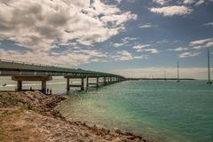 Driving on Florida Keys. Exposure done in this beautiful island of the Keys, USA.Shot with Canon 5D Mark III, and low ISO, lightly processing for taking royalty free stock image