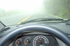 Driving in a fog Royalty Free Stock Photo