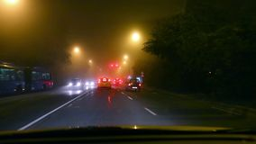 Driving in fog stock video