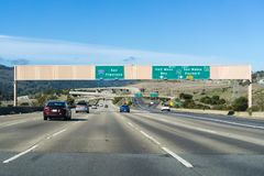 Driving on Foothills Freeway I 280 in San Francisco bay area on a sunny day; California royalty free stock photography