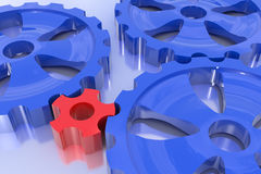 Driving force concept. One gear turn others. Hi-res 3d rendering Royalty Free Stock Image