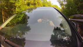 Driving on forest road. stock footage
