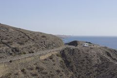 Driving the GC-500, Gran Canaria. An RV overlooks the ocean from the GC-500 highway on Gran Canaria, in the Canary Islands archipelago Spain Stock Photos