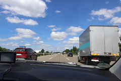 Driving on a German motorway. Overtaking on the highway royalty free stock photos