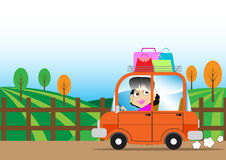 Driving girl. Cute girl driving a small car Royalty Free Stock Image