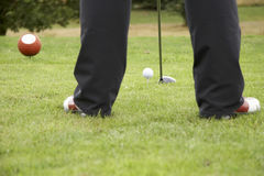 Driving the golf ball 02. Driving the golf ball - landscape format Royalty Free Stock Images