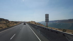 Driving in the gorge. A picture taken from a road trip through the Columbia River Gorge stock image