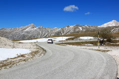 Driving in Gran Sasso Park, Apennines, Italy Royalty Free Stock Image
