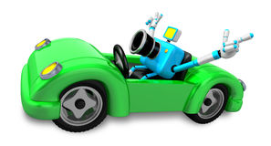 Driving a Green Convertible car in sky blue camera Character Stock Photos