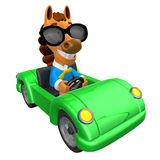 Driving a Green sports car in 3D Horse character. 3D Animal Char Stock Image