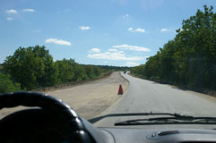 Driving on half built highway Royalty Free Stock Images
