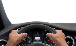 Driving hands steering wheel Stock Photo
