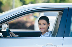 Driving happy in new car Stock Photos