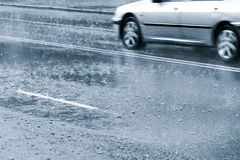 Driving in heavy rain Royalty Free Stock Images