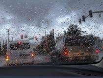 Driving in heavy rain Royalty Free Stock Photos