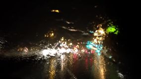 Driving on heavy raining night stock footage