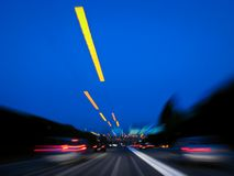 Driving High Speed. Long-shutter exposure photo on german autobahn Stock Photography