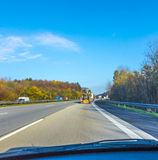 Driving the highway A3 early morning direction Cologne Royalty Free Stock Images