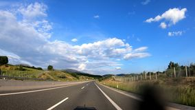 Driving on the highway, front view