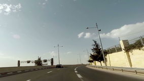 Driving on a highway in Jerusalem stock footage