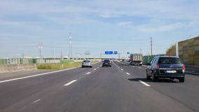 Driving through the A1 Highway near Lisbon towards the city of Oporto stock footage