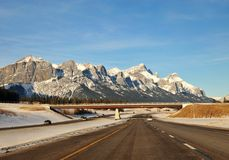 Driving in highway to rockies Royalty Free Stock Images