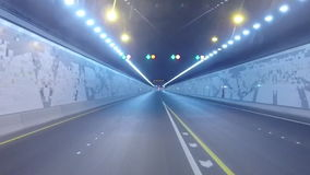 Driving On Highway Tunnel, Abu Dhabi. UAE stock video