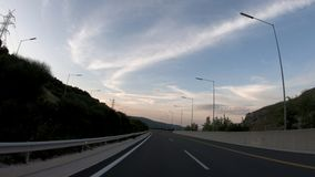 Driving on the Highway, Tunnel, Front View. In camera Stabilizer, No post editing, 4k video 3840X2160 stock video footage