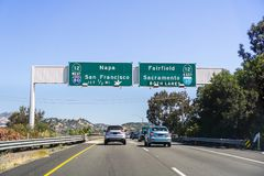 Driving on I80 in east San Francisco bay area. Towards Sacramento stock image