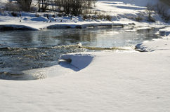 Driving of ice on small river Royalty Free Stock Image