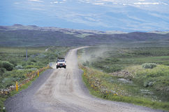 Driving Through Iceland. A four wheel drive vehicle driving through the Icelandic countryside royalty free stock photos